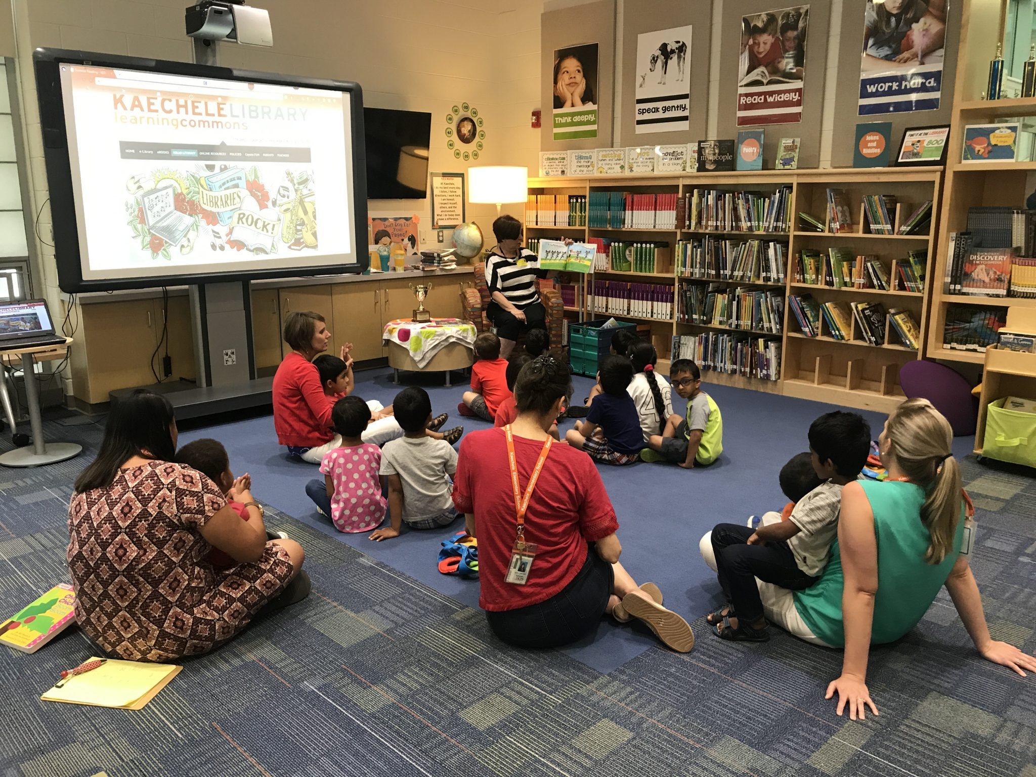 image of students listening to public librarian