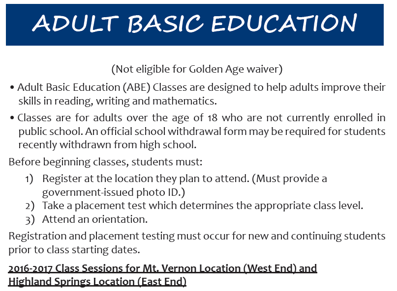 adult basic education testing