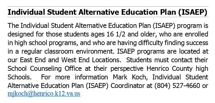 Individual Student Alternative Education Plan (ISAEP)