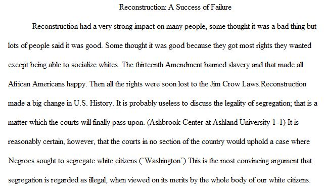 Reconstruction success failure essay