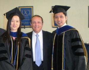 Liangyan Wang and Tianjun Feng with Paul Merage- Graduation 2008