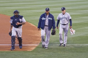 Felix Hernandez and Henry Blanco 2013