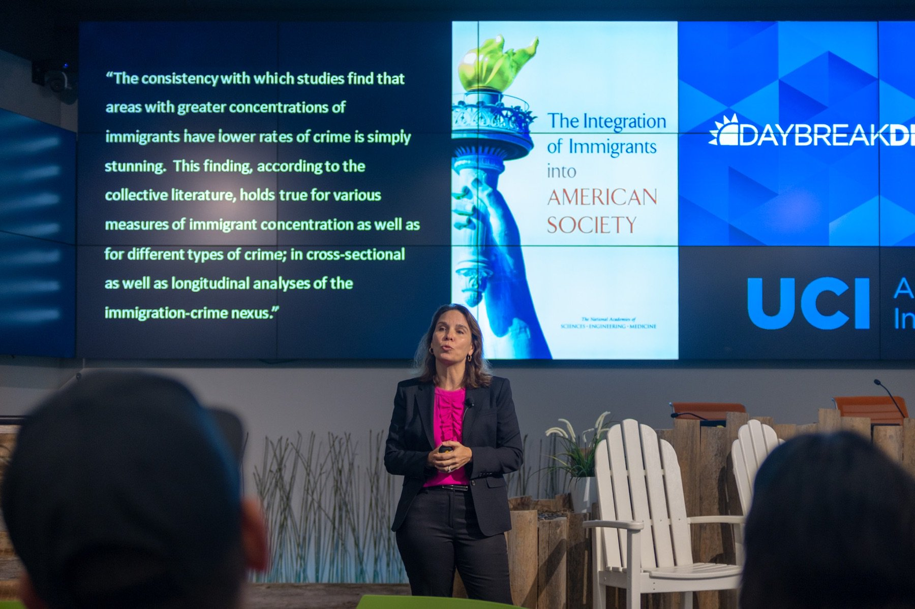 "Dr. Kubrin presents ""Immigration and Crime: Is the Narrative Fact or Fiction?"" at Daybreak Session"