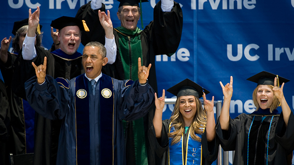 The Prez at UCI graduation 6-14