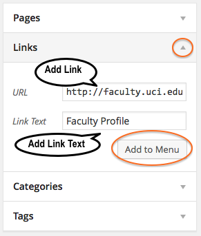 Add New Faculty Profile Link
