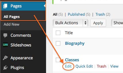 Edit Classes page
