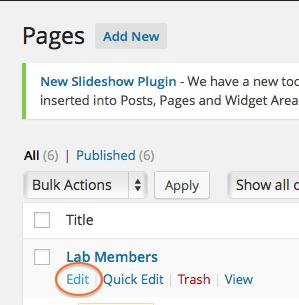 Edit Lab Members Page