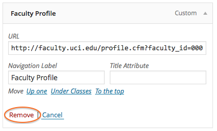 Remove Faculty Profile Link