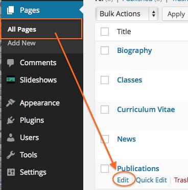 Edit Publications Page