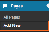 Pages > Add New