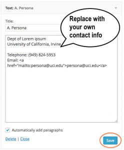Replace your contact information