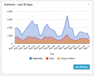 Google Analytics in the dashboard