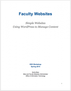 Faculty Websites Training Guide Spring 2015