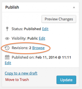 Revisions option in Publish panel