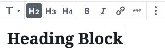 Formatting toolbar for Heading blocks.