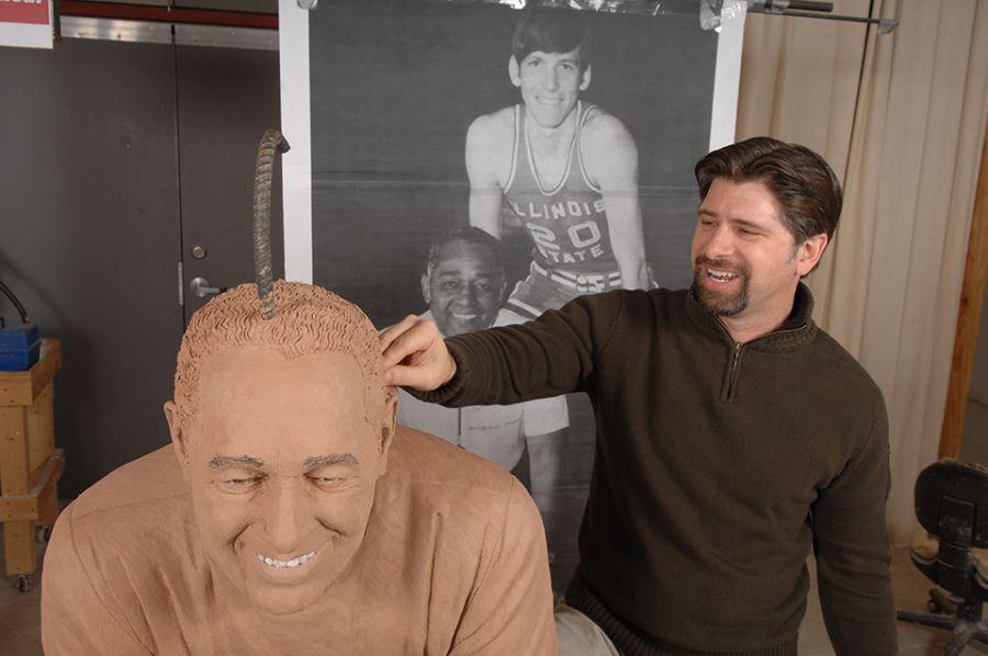 Lou Cella sculpts