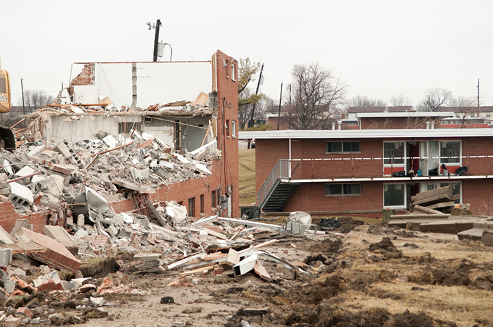 old Cardinal Court is demolished