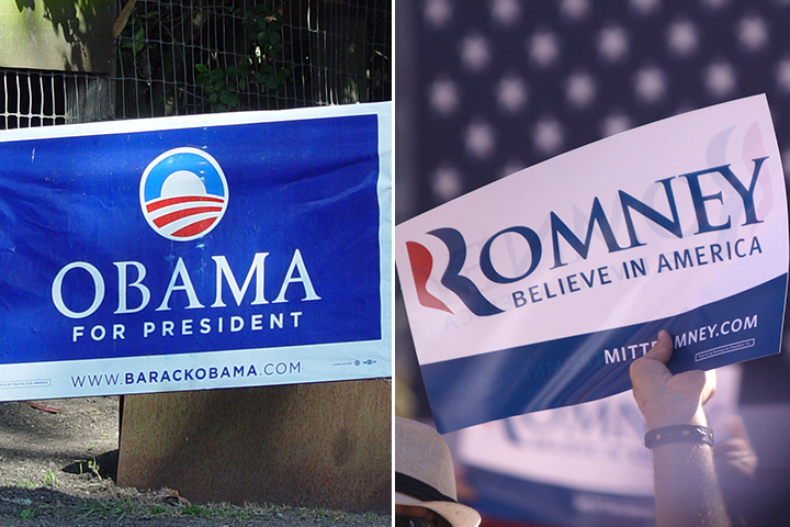 Obama and Romney yard signs
