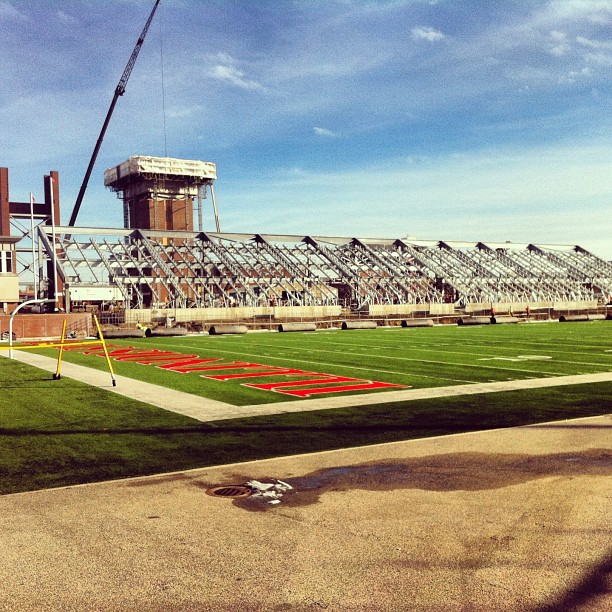 Hancock Stadium construction