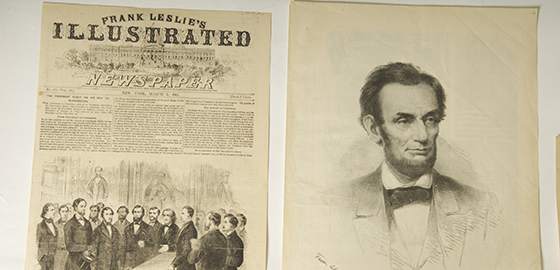 Lincoln's face on an old newspaper