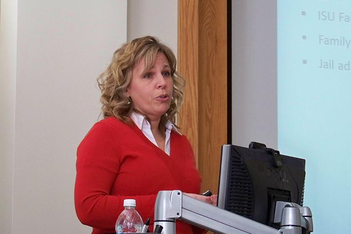 Kari Hickey at podium