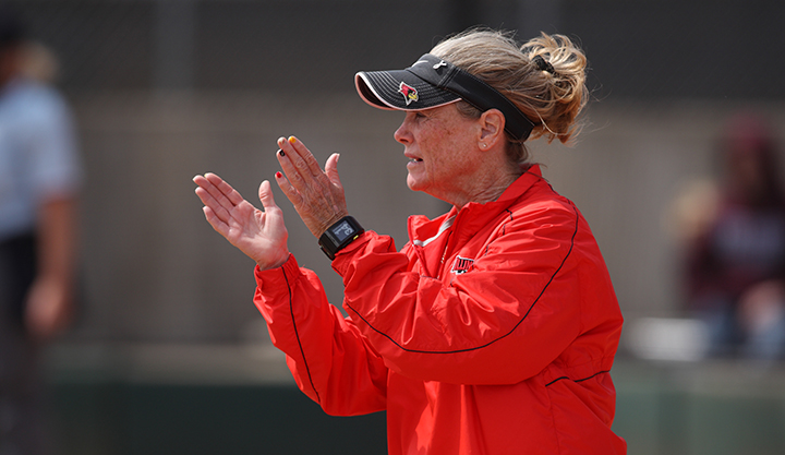 Redbird softball coach Melinda Fischer cheers