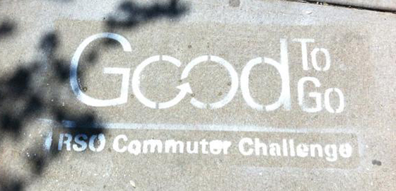 The RSO Commuter Challenge logo on pavement