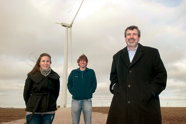 Students under wind turbine