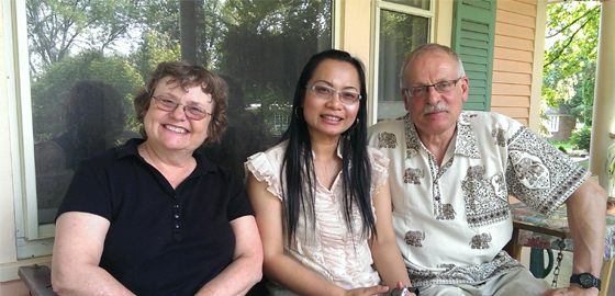 Thai lecturer Jiraporn Chano with interim associate dean of the College of Education, Patricia Klass and professor of special education, Phil Parette.