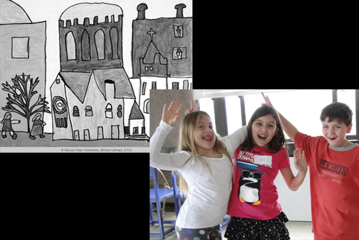 montage of students and artwork