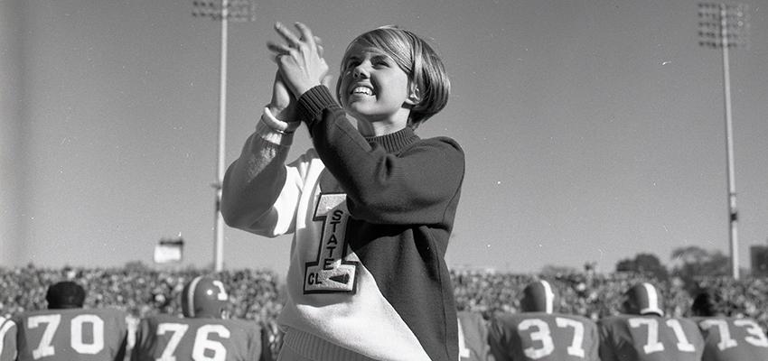 Cheerleader in 1968 on the sidelines