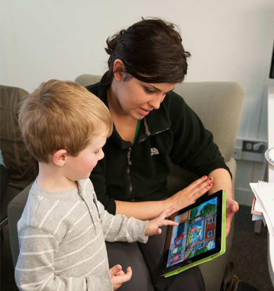 Attendees to Cassandra Mattoon's T21 session were enabled to work directly with preschool students from Thomas Metcalf Schools with iPad apps.