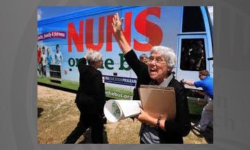 photo of nuns on a bus