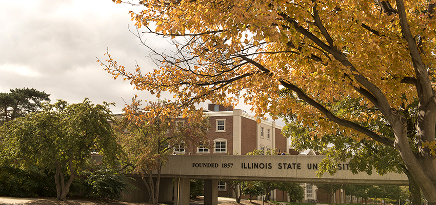 ISU overpass with fall leaves