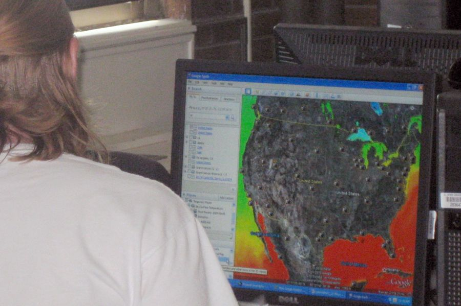 GIS map on a screen