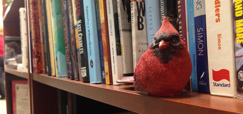 The Alumni Center bookshelf.