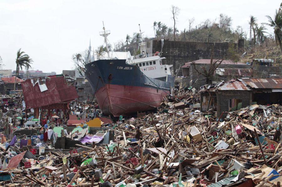 photo of typhoon destruction