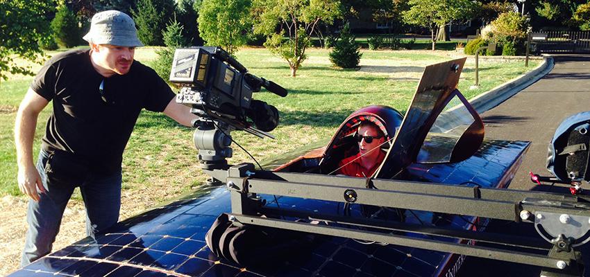 Solar car video shoot