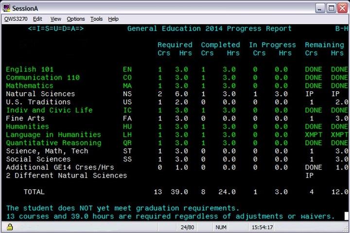 mainframe degree audit progress screen