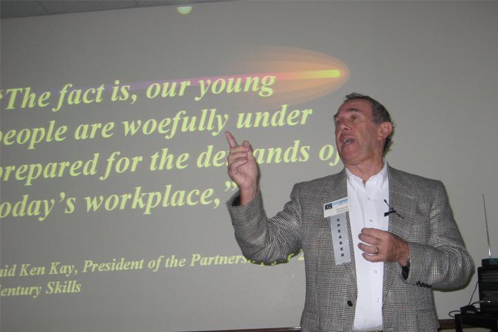 Howie DiBlasi, former CIO of Durango Public School District presents at a conference on digital literacy.