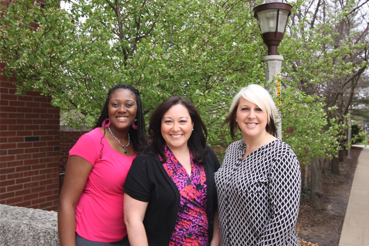 Honored special education faculty members (from left) Shaqwana Freeman Green, Yojanna Cuenca-Carlino, and April Mustian