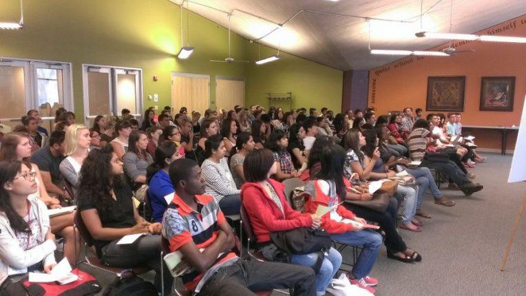 New international students at International Student Orientation