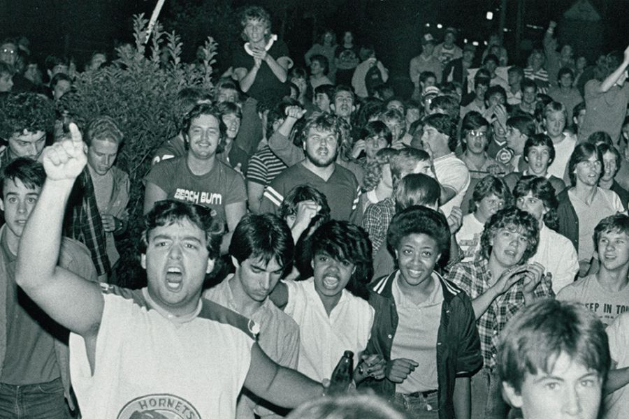 Students at beer riot in 1984