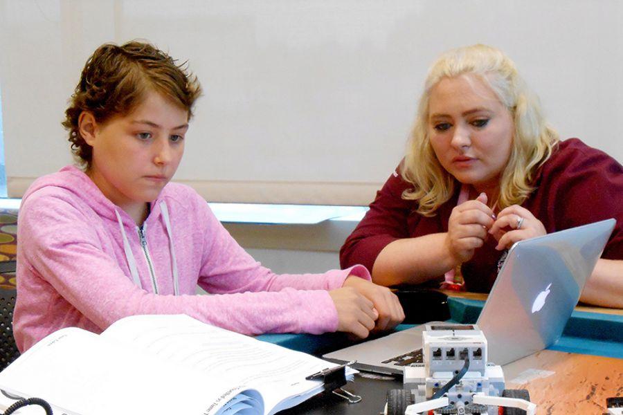 Michala works with Megan