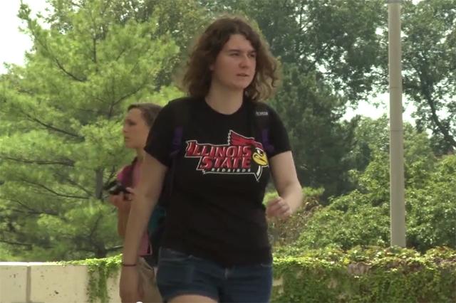 Jessica walks on campus