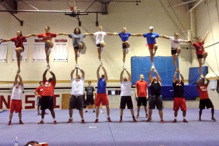 Redbird cheerleading team practices