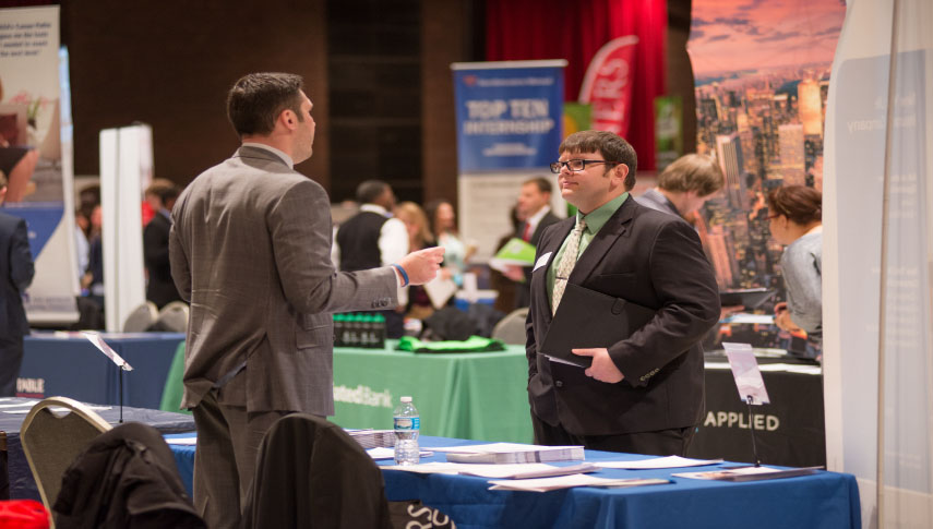 Student and employers at Career Fair