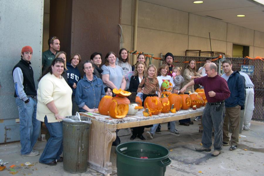 People with pumpkins