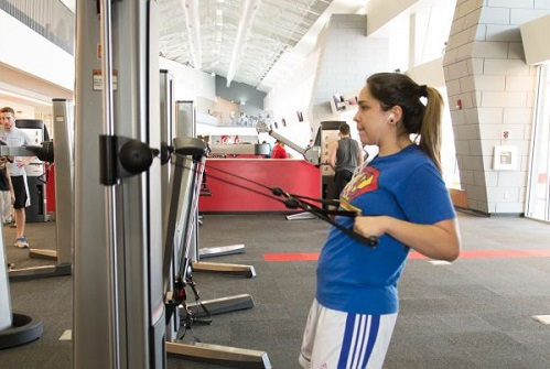 Female student works out