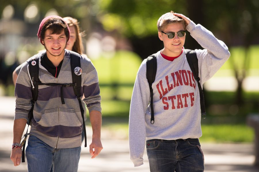 students walk the Quad
